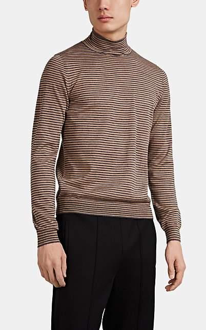 Maison Margiela Men's Striped Wool Turtleneck Sweater - Lt. brown