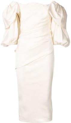 Rachel Gilbert Puff-Sleeve Dress