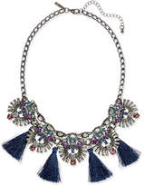 INC International Concepts Hematite-Tone Multi-Stone & Blue Tassel Statement Necklace, Created for Macy's