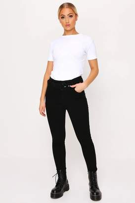 I SAW IT FIRST Black Belted Skinny Jeans