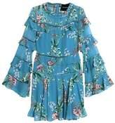 Nicholas Ruffled Floral-Print Silk Crepe De Chine Mini Dress