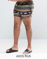 Asos Plus Runner Swim Shorts With Bright Aztec Print In Short Length