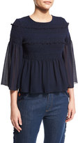 See by Chloe 3/4-Sleeve Embroidered Peplum Top