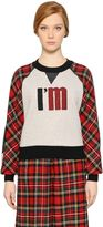 I'M Isola Marras Plaid Wool & Cotton Jersey Sweatshirt