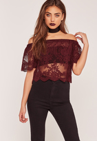 Missguided Bardot Sheer Lace Crop Top Burgundy