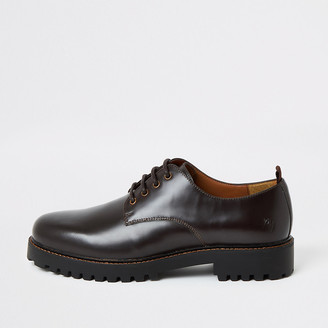 River Island Dark brown chunky sole leather derby shoes