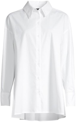 Natori Cotton Poplin Button-Front Top