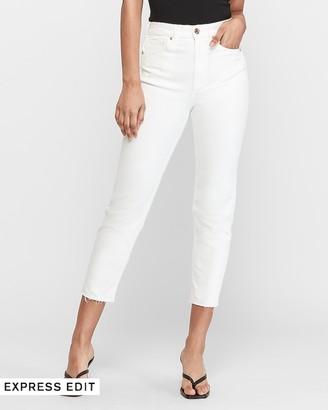 Express Super High Waisted White Raw Hem Mom Jeans