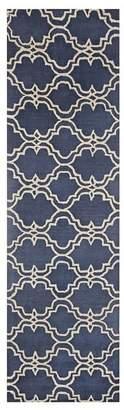 Pottery Barn Scroll Tile Tufted Rug, 2.5' X 9', Indigo Blue