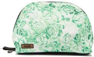 Ganni Floral-print Washbag - Green