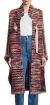 See by Chloe Boucle-Trim Tweed Coat