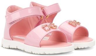 Dolce & Gabbana Logo Plaque Touch Strap Sandals