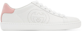 Gucci White and Pink Interlocking G New Ace Sneakers