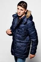 Boohoo Padded Parka Jacket With Faux Fur Hood