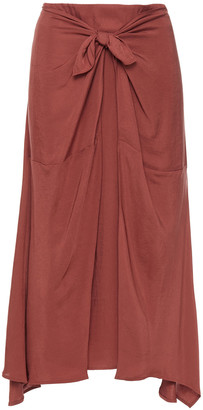 Vince Tie-front Draped Twill Midi Skirt