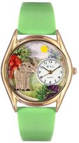 Whimsical Watches Kids' C0150013 Classic Gold Elephant Light Green Leather And Goldtone Watch
