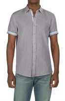 Report Collection Textured Dobby Shirt - Linen-Cotton, Short Sleeve (For Men)