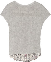 Thakoon Jersey and printed eyelet-cotton top