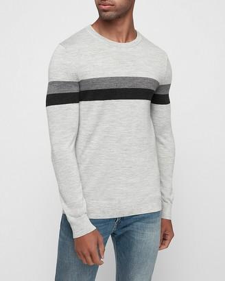 Express Merino Wool-Blend Thermal Regulating Striped Crew Neck Sweater