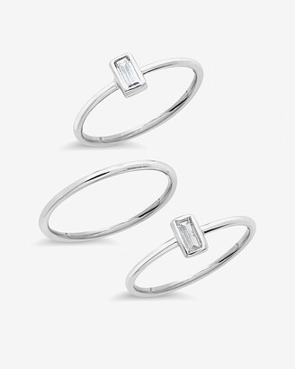 Express Sterling Forever Sterling Silver Baguette Stacking Ring Set Of 3