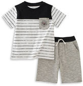 Calvin Klein Two-Piece Striped Tee and Knitted Shorts Set