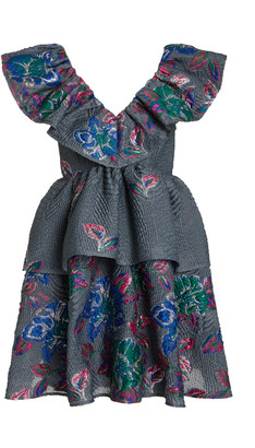 Ganni Floral Jacquard Mini Dress