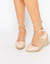 Carvela Kute Pale Pink Leather Wedge Shoes