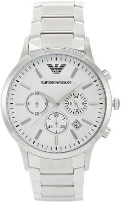 Emporio Armani AR2458 Silver-Tone & Off-White Watch