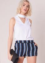Missy Empire Anjelina Black And Blue Striped Shorts