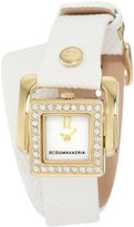 BCBGMAXAZRIA Women's BG6369 Arabasque Custom Hinged Square Case with Pavé Stone Detail Watch