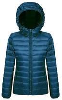 Ake Women's Packable Hooded Winter Outwear Puffer Down Jacket -White