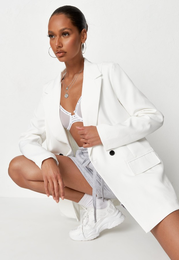Missguided White Longline Tailored Blazer