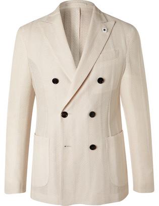 Lardini Slim-fit Double-breasted Cotton And Linen-blend Blazer - Neutrals