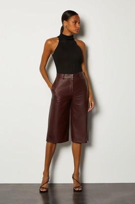 Karen Millen Leather Wide Leg Cropped Trouser