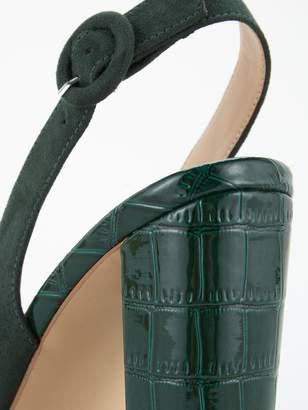 Very Salt Block Heel Slingback Point Court Shoes - Dark Green