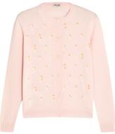 Miu Miu Embellished Wool Cardigan - Pastel pink