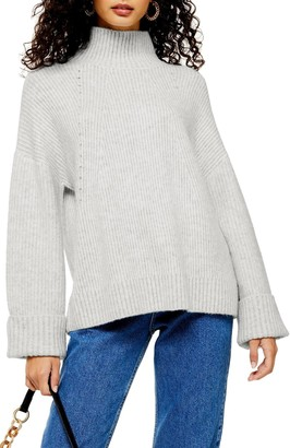 Topshop Knitted Super Soft Funnel Neck Sweater