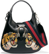 Gucci Dionysus Hobo Small Appliquéd Leather Shoulder Bag - Black