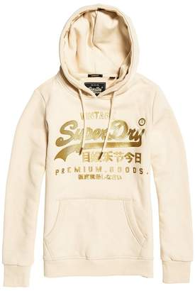 Superdry Vintage Logo Premium Luxe Slip-On Hoodie in Cotton Mix with Pocket and Metallic Logo