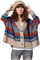 Bestor Fashion Women Indian Batwing Knits Multicolor Stripe Cardigan Sweater Knitwear (One Size, Multicolor)