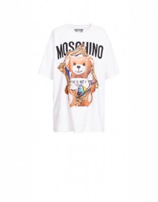 Moschino Jersey T-shirt Frame Teddy Bear Woman White Size L It