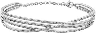 14k White Gold 1 Carat T.W. Diamond Crisscross Bracelet
