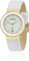 Skagen Women's SKW2034 White Leather Quartz Watch with Mother-Of-Pearl Dial