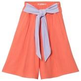 Raspberry Plum Orange Culottes with Lilac Belt