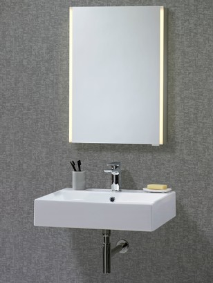 John Lewis & Partners Trace Single Mirrored and Illuminated Bathroom Cabinet