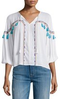 Townsen Bacoor Embroidered Blouson Top, White