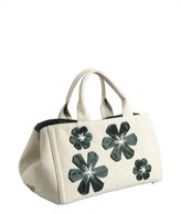 Prada khaki and green canvas flower detail large tote