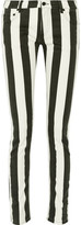 Off-White Striped Mid-Rise Skinny Jeans