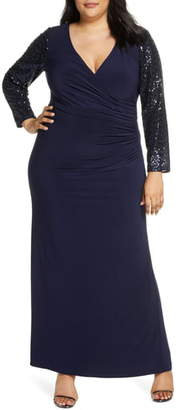 Eliza J Sequin Long Sleeve Ruched Gown