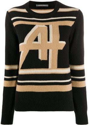 Alberta Ferretti Long-Sleeved Monogram Knit Jumper